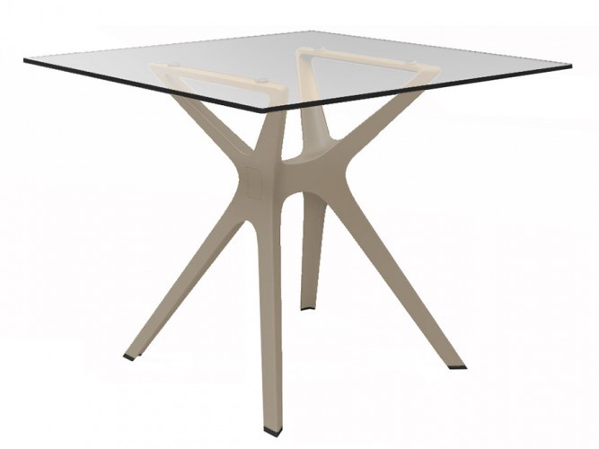 Table en verre pied design polypropyl ne trl v1 one mobilier for Table exterieur 90x90